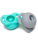 Doddle & Co. Pop Pacifier Twin Pack In Teal Life & Oh Happy Grey