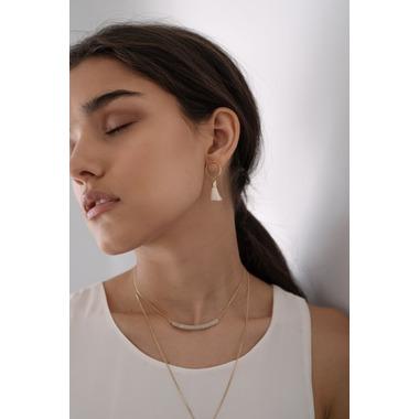 Lovers Tempo Solar Tassel Post Earrings White