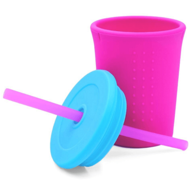 Silikids Silicone Straw Cup Pink