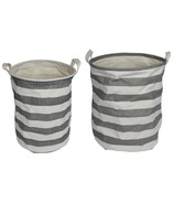 Silver Tree Grey Stripe Cylinder Canvas Baskets Set of 2