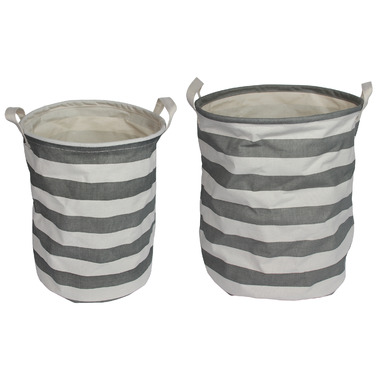 Silver Tree Grey Stripe Cylinder Canvas Baskets Set of 2