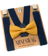 Mini Swag Mustard Bow Tie & Navy Suspenders Set