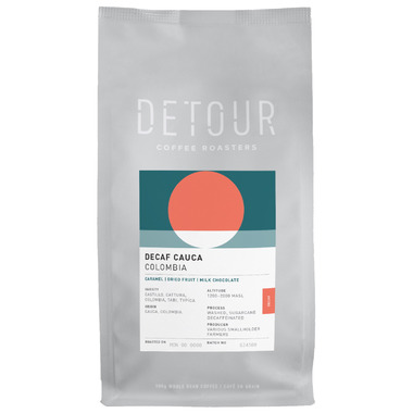 Detour Coffee Roasters Decaf Cauca Columbia Whole Bean Coffee