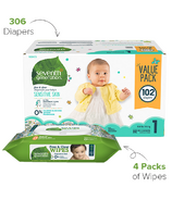 Seventh Generation Size 1 Diapers & Wipes Bundle