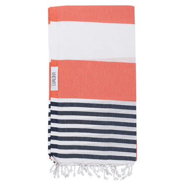 Lualoha Turkish Towel Striped Goodness Coral & Navy