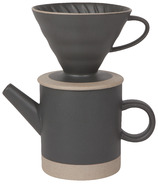 Now Designs Contour Ceramic Pour Over Coffee Set Matte Black