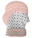 Munch Mitt Teething Mitten Pastel Pink Hearts