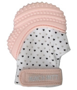 Munch Mitt Teething Mitten Pastel Pink Hearts