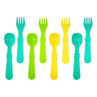 Re-Play Utensils Aqua, Green and Sunny Yellow