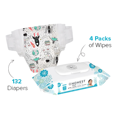 The Honest Company Space Travel Print Diapers & Wipes Bundle Size 6