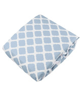 Kushies Flannel Fitted Crib Sheet Lattice Blue