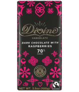 Divine Chocolate Dark Chocolate with Raspberries 70% Cocoa