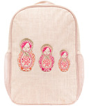 SoYoung Pink Linen Emboridered Dolls Grade School Backpack