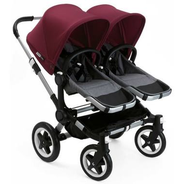 Bugaboo Donkey2 Duo Extension Set Grey Melange & Ruby Red