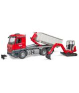 Camion MB Arocs avec conteneur roulant et mini-pelle de Bruder Toys