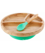 Avanchy Toddler Bamboo Stay Put Suction Divided Plate & Spoon Green