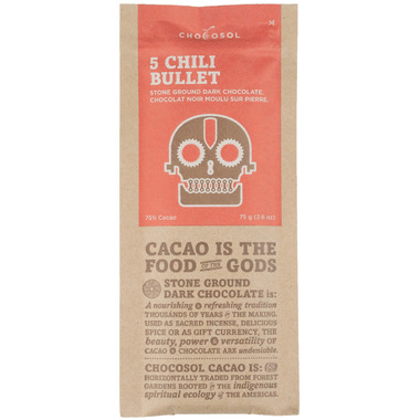 ChocoSol Five Chili Bullet Stone Ground Dark Chocolate