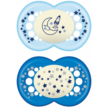 Mam Silicone Night Pacifier Glows in the Dark Blue
