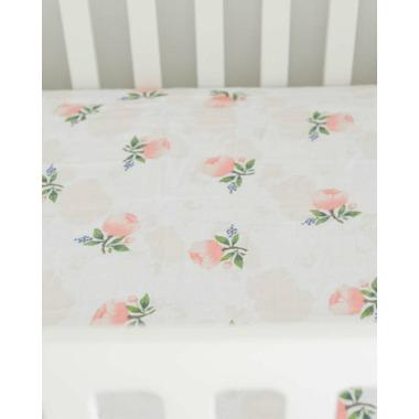 Little Unicorn Brushed Crib Sheet Watercolour Rose