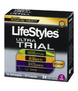 Lifestyles Ultra Trial Lubricated Latex Condoms And 2 Rings