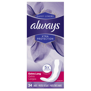 Always Xtra Protection Daily Liners Extra Long Unscented