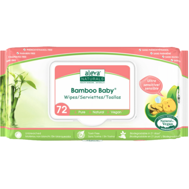 Aleva Naturals Bamboo Baby Wipes Sensitive Fragrance Free