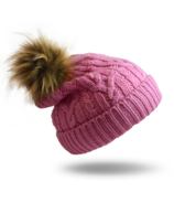 Pudus Hat Pink Cable Knit Adult