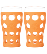 Lifefactory Beverage Glasses with Orange Silicone Sleeves