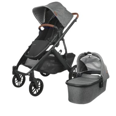 UPPAbaby VISTA V2 Stroller Greyson Charcoal Melange Black Saddle Leather