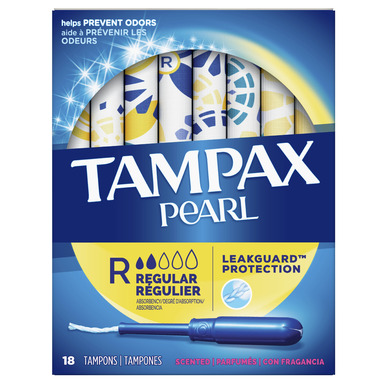 Tampax Pearl Tampons Regular Absorbency with LeakGuard Braid Scented