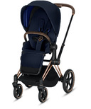 Cybex Priam Rose Gold Frame with Indigo Blue Seat Pack