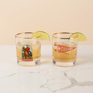Drake General Store Bar Glass Set Mountie + Canada Pennant