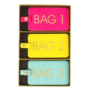 Eccolo Luggage Tag Set of 3 Brights Bag 1 2 3