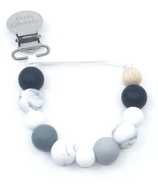 Little Cheeks Marble Pacifier Clips Black