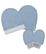 Juddlies Organic Hat & Mitts Denim Blue 0-3 Months Bundle