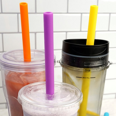 RSVP Silicone 10in Silicone Smoothie Straw Set With Brush