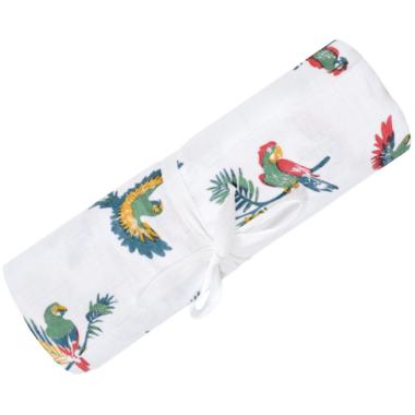 Perlimpinpin Cotton Muslin Swaddle Parrots