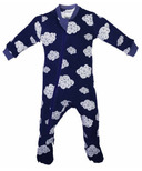 ZippyJamz Organic Cotton Footed Sleeper Dream Clouds Navy