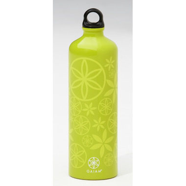 Gaiam Flower Power Light Spring Grass Aluminum Water Bottle