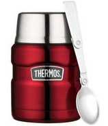 Thermos Stainless Steel Food Jar With Folding Spoon Cranberry