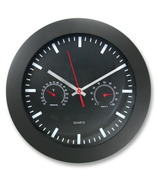 Artistic Black Wall Clock with Temperature & Humidity Gauges