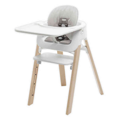 Stokke Steps High Chair Complete Natural with White Seat and Grey Cushion