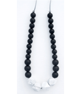 Loulou Lollipop Marble Silicone Statement Teething Necklace Black