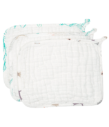 Nest Designs Organic Cotton Baby Washcloth Set Puppy, Shells & Leaves