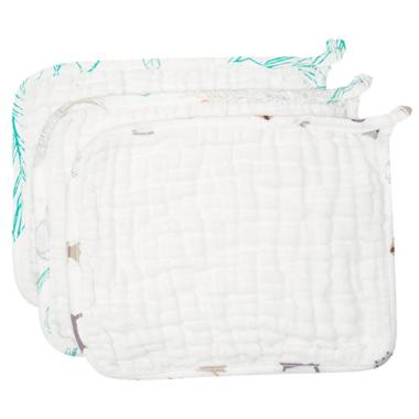 Nest Designs Organic Cotton Baby Washcloth Set Puppy, Shells & Leaves