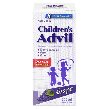 Advil Children\'s Oral Suspension Dye Free Grape
