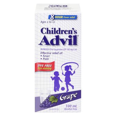 Advil Children\'s Oral Suspension Dye Free Grape