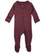 L'oved Baby Organic Footed Zipper Jumpsuit Eggplant