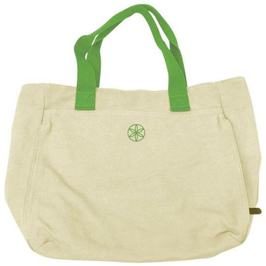 Gaiam Tote Bag and Headband Combo Beige/Green Trim