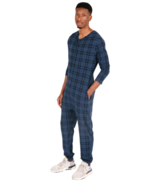 Smash + Tess The S+T Present in Plaid Guy Romper Blue Holiday Tartan